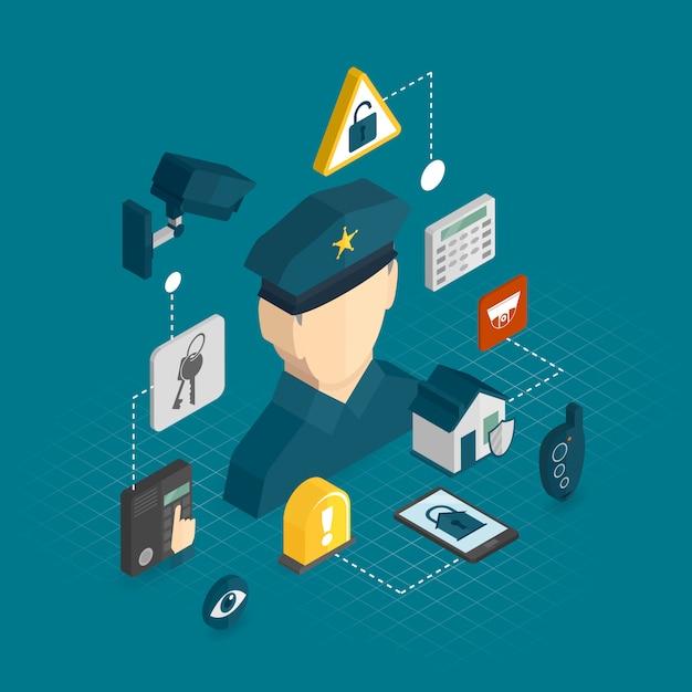 Изометрические элементы домашней безопасности Premium векторы