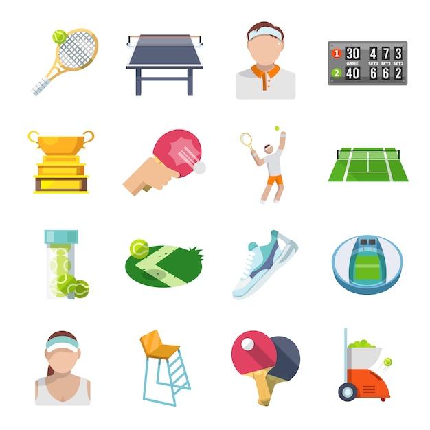 Плоский набор иконок для тенниса Бесплатные векторы