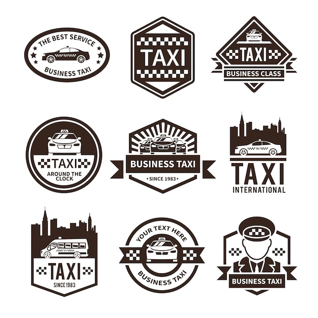 タクシーのロゴセット 無料ベクター