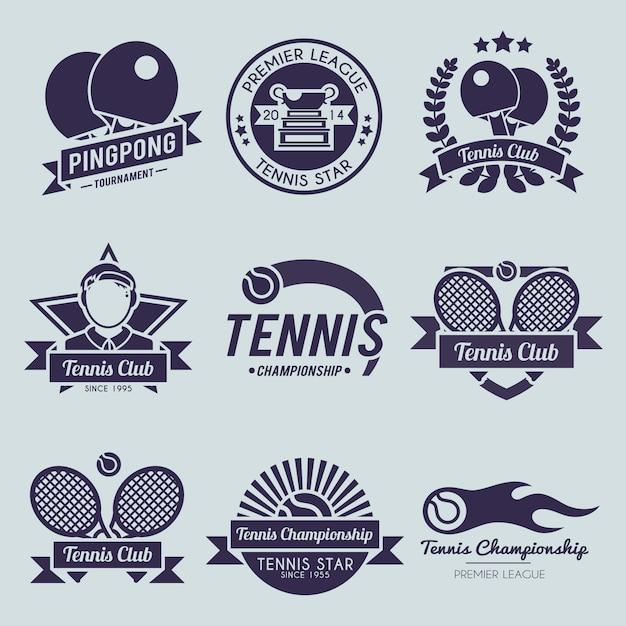 Теннисный логотип Premium векторы