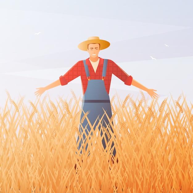 農家と作物の収穫フラット構成 無料ベクター