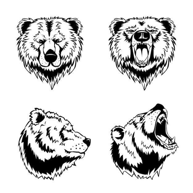 クマの頭の手描きの彫刻 無料ベクター