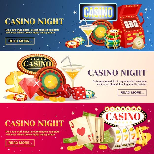 Ночное казино три горизонтальных баннера Бесплатные векторы