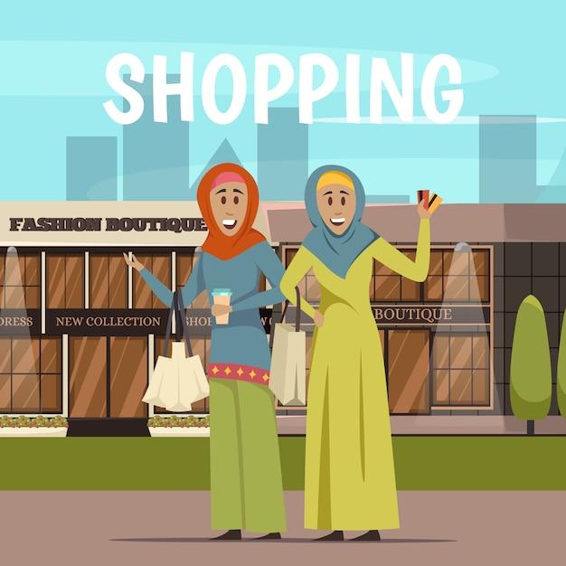 アラビア語の女性とショッピングの背景 無料ベクター
