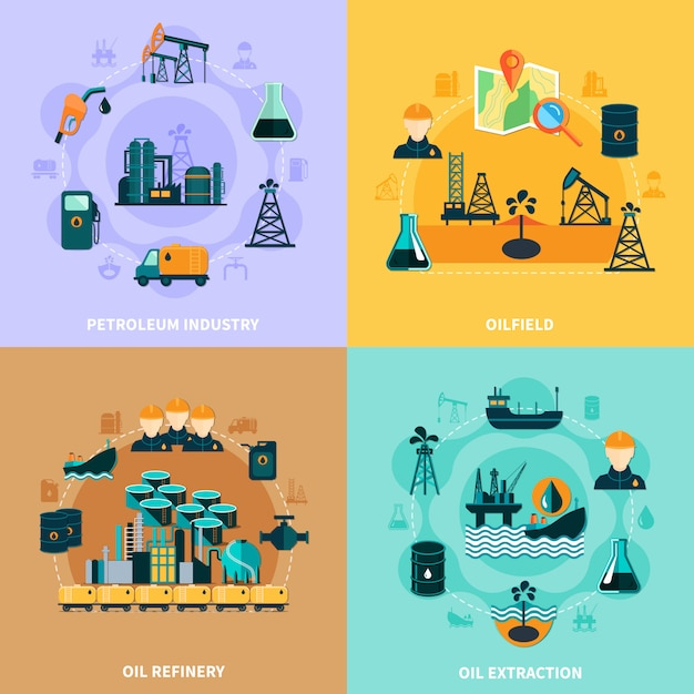 石油インフラインフォグラフィックコンセプト Premiumベクター