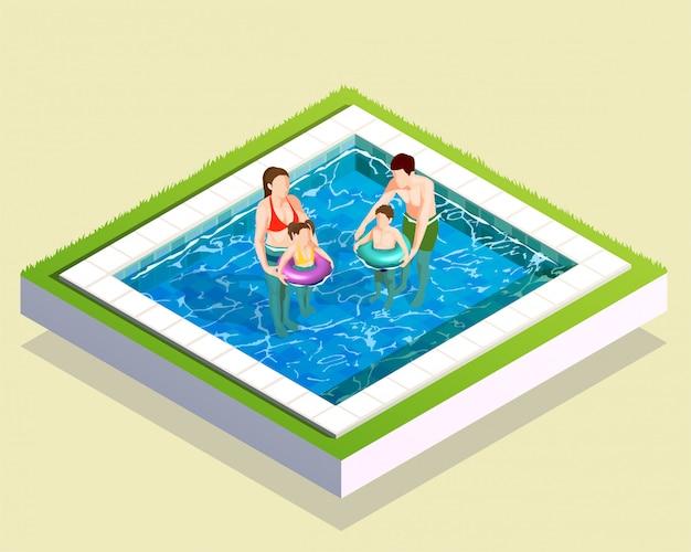 入浴組成の家族 Premiumベクター