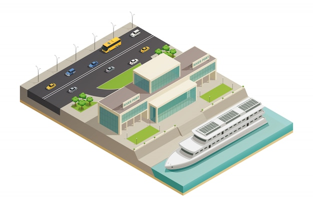 Изометрическая композиция речного порта крейсер Бесплатные векторы