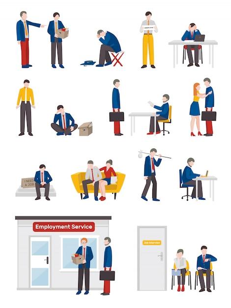 Набор символов безработных людей Бесплатные векторы