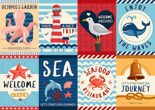 Набор морских баннеров и набор плакатов Бесплатные векторы