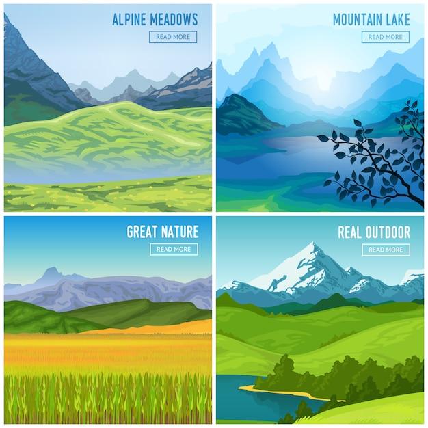 Набор горных пейзажных композиций Бесплатные векторы