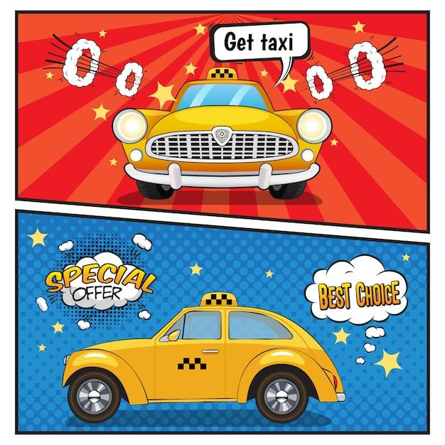 タクシーサービスコミックスタイルバナー 無料ベクター