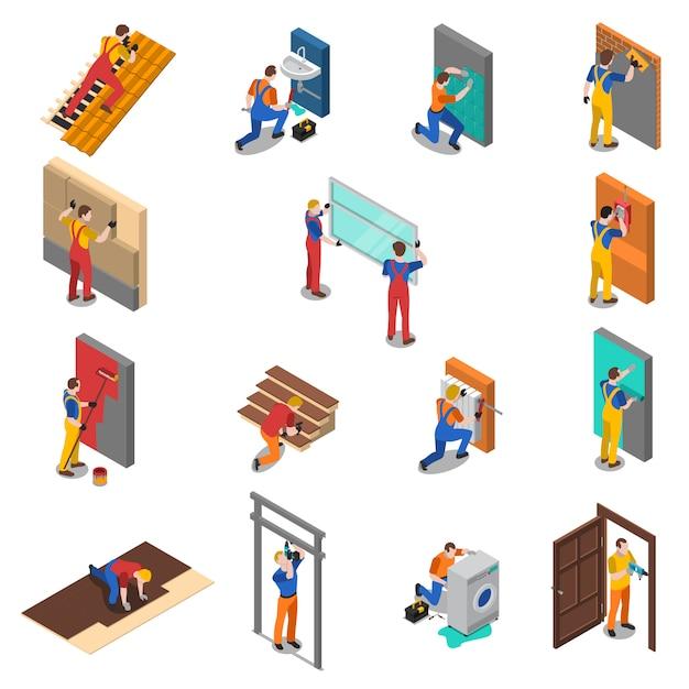 家の修理労働者の人々のアイコンを設定 無料ベクター