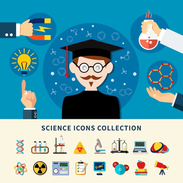 科学アイコンのコレクション 無料ベクター