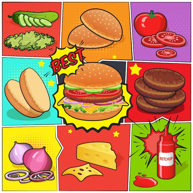 Страница комиксов о бургере Бесплатные векторы