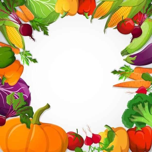 Декоративная рамка из овощей Бесплатные векторы