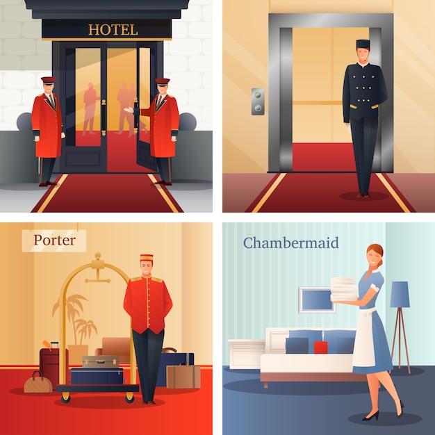Концепция дизайна персонала отеля Бесплатные векторы