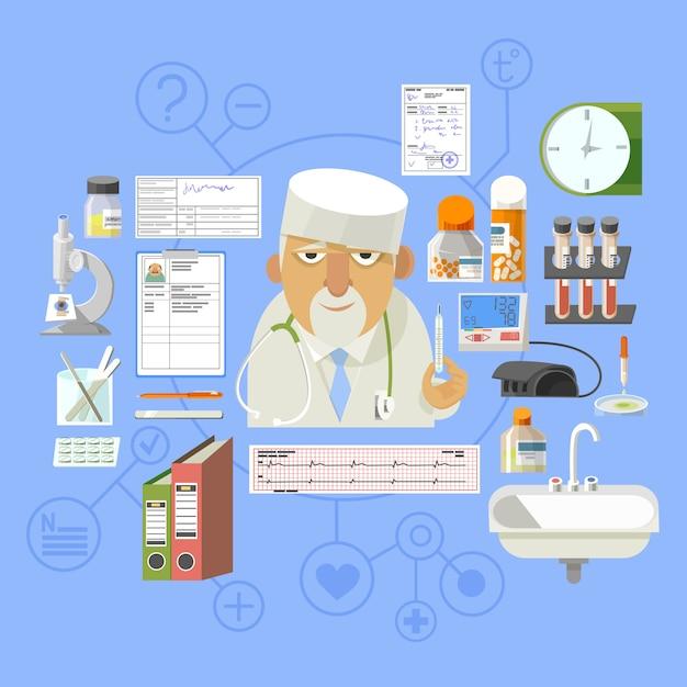 Медицинская концепция баннерная композиция плакат Premium векторы