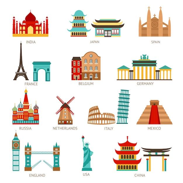 Набор иконок путешествия Бесплатные векторы
