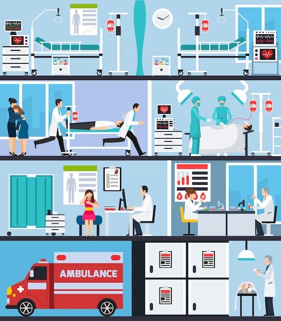 Плоские композиции интерьера больницы Бесплатные векторы
