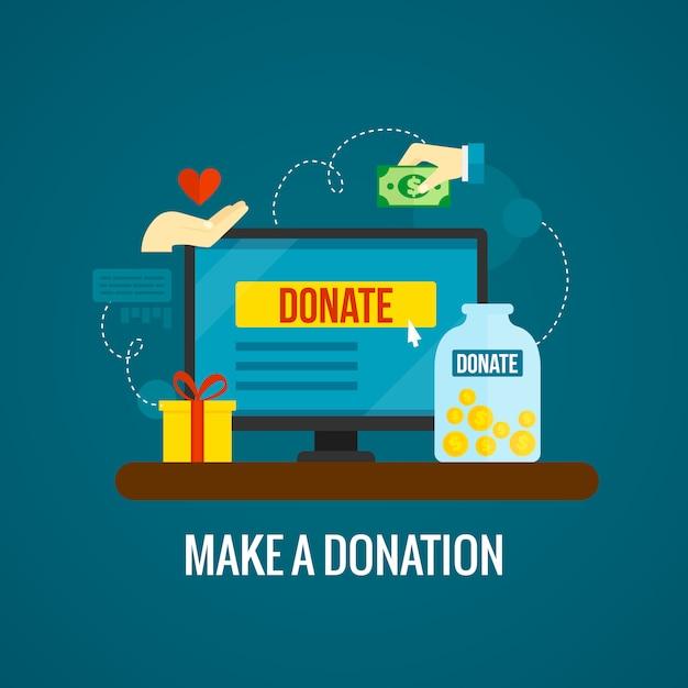 Пожертвования онлайн с ноутбуком Бесплатные векторы