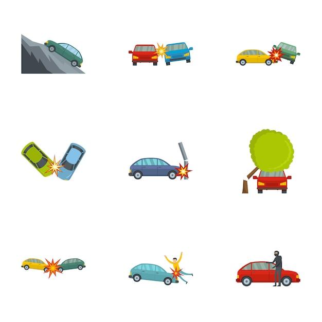 自動車事故のアイコンを設定、漫画のスタイル Premiumベクター