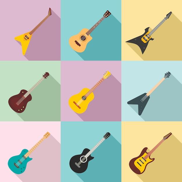 Набор иконок для гитары, плоский стиль Premium векторы