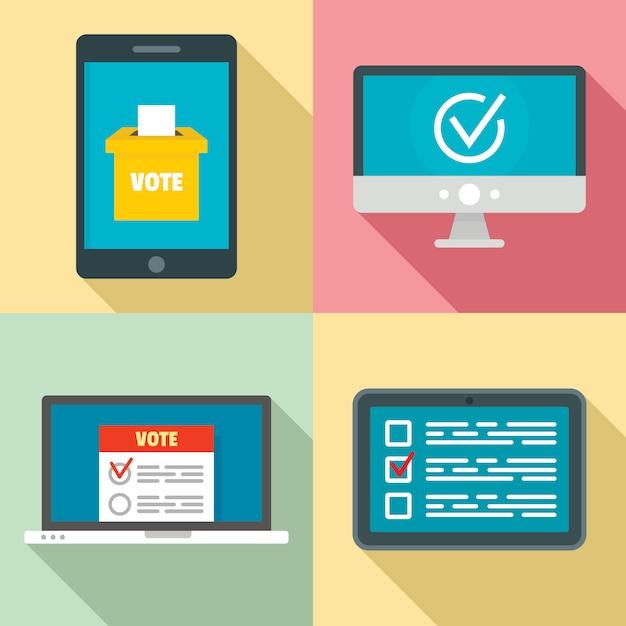 オンライン投票のアイコンを設定、フラットスタイル Premiumベクター