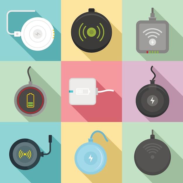 ワイヤレス充電器アイコンセット、フラットスタイル Premiumベクター