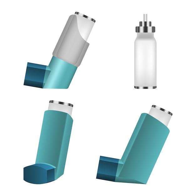 吸入器アイコンセット、リアルなスタイル Premiumベクター