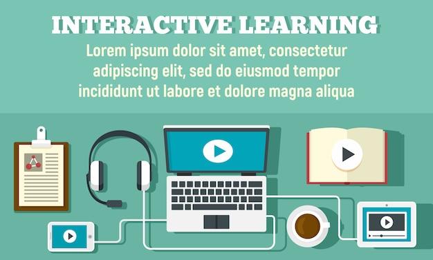 Интерактивный учебный баннер, плоский стиль Premium векторы