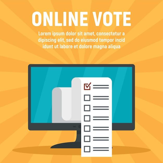 オンラインコンピューター投票テンプレート、フラットスタイル Premiumベクター
