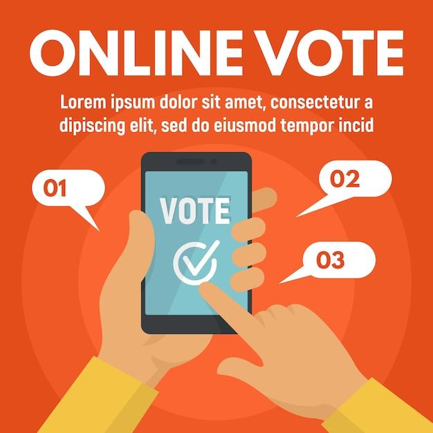 Онлайн шаблон голосования для смартфона, плоский стиль Premium векторы