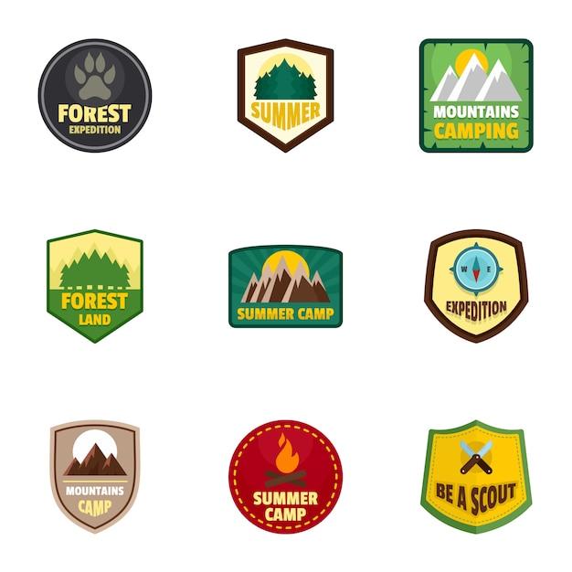 キャンプ遠征ロゴエンブレムセット、フラットスタイル Premiumベクター