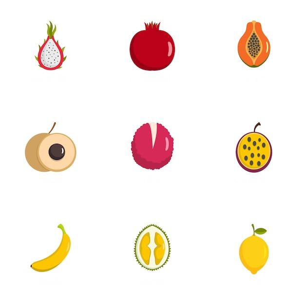 Набор иконок плода, плоский стиль Premium векторы