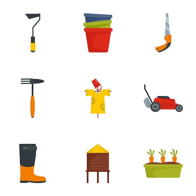 園芸工具アイコンセット、フラットスタイル Premiumベクター