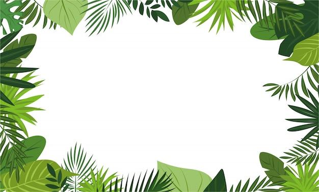 Свежий тропический лес концепция фон рамки, мультяшном стиле Premium векторы