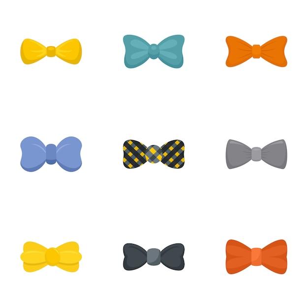 男性の蝶ネクタイのアイコンセット、フラットスタイル Premiumベクター