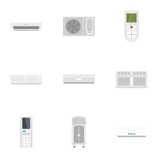 オフィスコンディショナーアイコンセット、フラットスタイル Premiumベクター