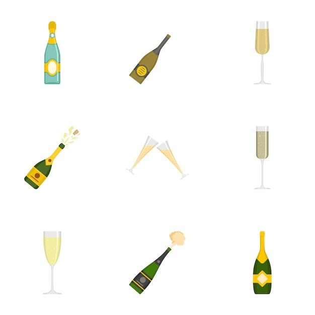シャンパンのアイコンセット、漫画のスタイル Premiumベクター