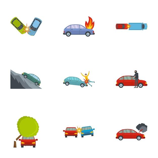 車のクラッシュのアイコンセット、漫画のスタイル Premiumベクター