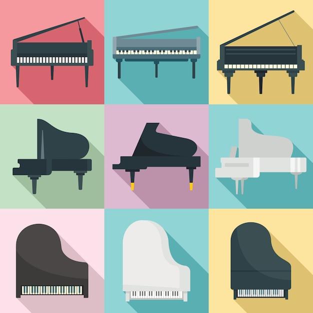 グランドピアノセット、フラットスタイル Premiumベクター