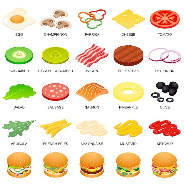 ハンバーガー成分のアイコンを設定 Premiumベクター