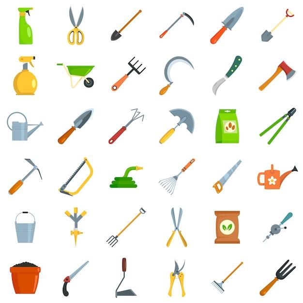 Набор иконок садовые инструменты Premium векторы