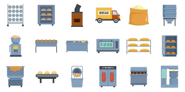 Набор иконок пекарня фабрика Premium векторы
