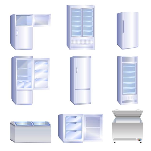 冷凍庫のアイコンセット、漫画のスタイル Premiumベクター