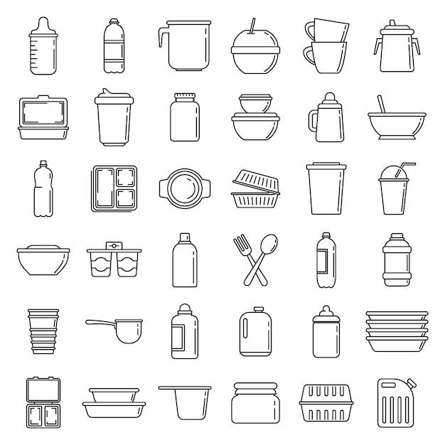 Набор иконок современной пластиковой посуды, стиль контура Premium векторы