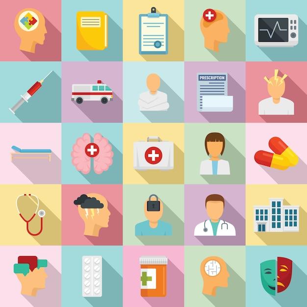 Набор иконок психиатрической больницы Premium векторы