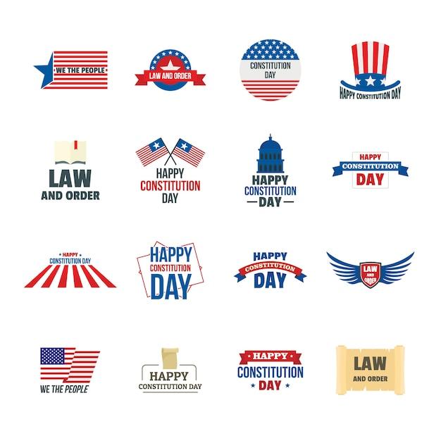 憲法記念日アメリカのロゴのアイコンを設定 Premiumベクター