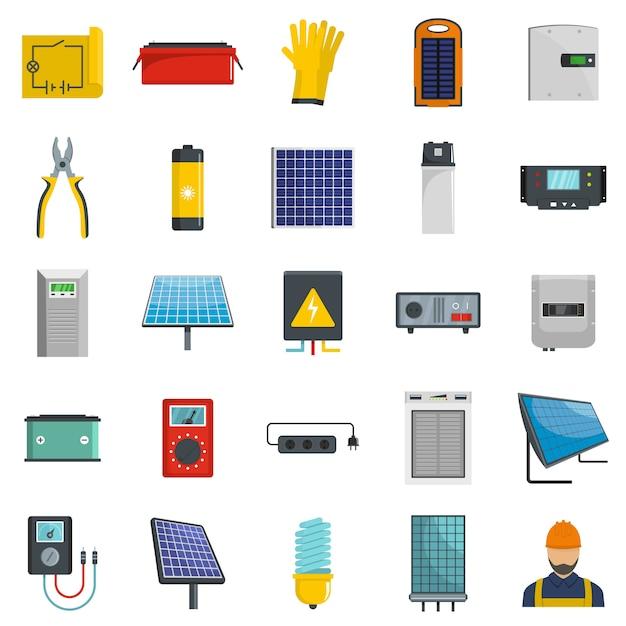 太陽エネルギー機器のアイコンセットベクトル分離 Premiumベクター