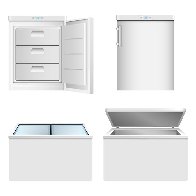 冷凍庫のアイコンを設定 Premiumベクター